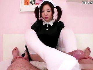 Socks Maid Pantyhose Nylon Footjob