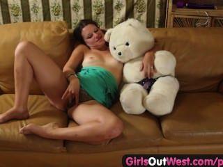 Girls Out West - Amateur Cutie Fucking A Teddy Bear