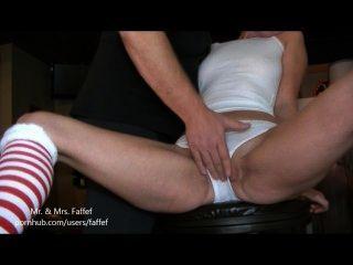 Xmas Vixen Soaks Her Virgin Panties
