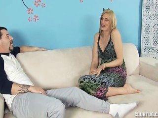 Horny Milf Jerks Off Her Step-son