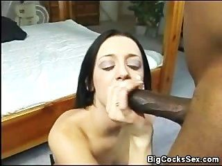 Putting That Big Black Cock In Her Pussy