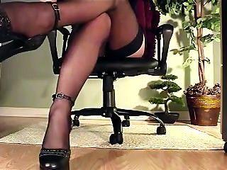 Secretary Under Desk View Of Masturbation In Heels And Stockings