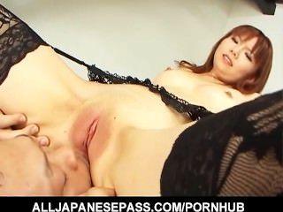 Himena Ebihara In Black Lingerie Has Her Shaved Pussy Eaten