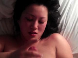 Cumshot On Asian-american Girlfriend