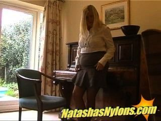 Classy Blonde English Milf Housewife Shows Her Slut Side In Stockings