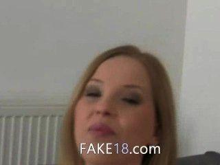 Cute Blondie Sucking Fake Agent Dick
