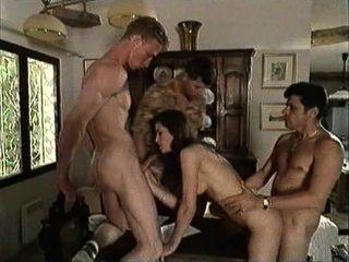 Vintage Italian Movie - Brunette Fucks Three Guys