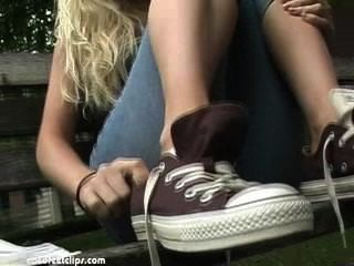 College Girl Sniffing Her Own Stinky Feet Out Of Chucks