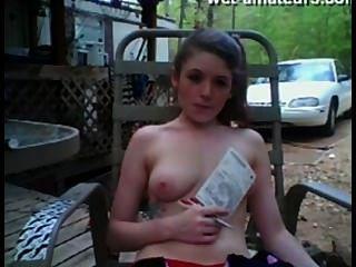 Dream Girl Public Park Flashing On Webcam