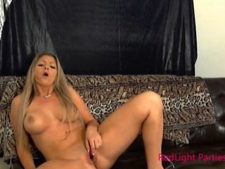 Redlight Party Girl Brianna Brooks Making Herself Cum With A Lipstick Vibe