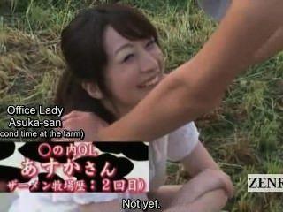 Subtitle Cfnm Outdoor Japan Semen Ranch Handjob Blowjob