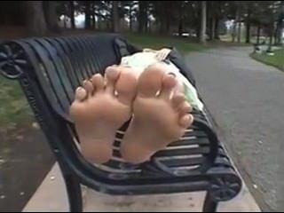 Mature Foot Tease Outside