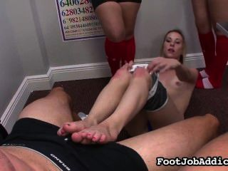 Skinny Blonde Gives A Footjob To Her Trainer With A Little Help Of Friends