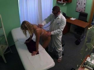 Blonde Without Panties Fucked By Doctor In His Office