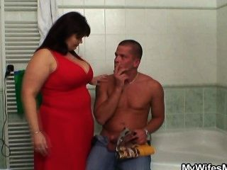 Her Huge Jugs Bounces When She Rides Cock