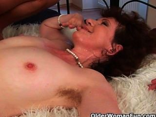 Hairy Grannies Unload A Cock On Their Face And Tits