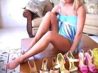 Gigi Show You Her Shoe Collection & Inserts Heel In Pussy