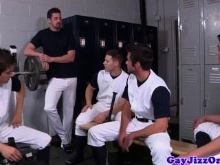 Athletic Hunks Jizzing On Their Coach