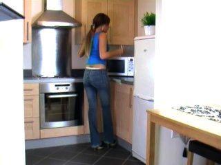 Natalia Wets Pants In Kitchen