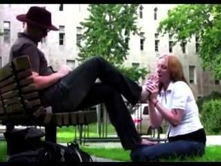 In Public Park Slave Girl Worship Her Master Feet
