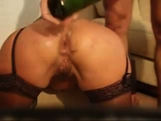 Crazy Anal Fisting With Hand And Wine Bottle And He Jacks Off In Her Ass