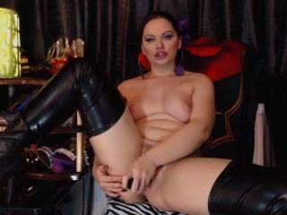 Hot Girl In Long Boots Playing With Her Tight Pussy