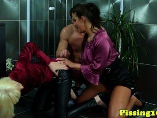 European Pissing Babes In A Wam Threesome