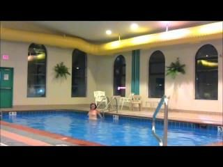 Redhead Maddie Swims Totally Naked At Hotel Swimming Pool Showing All!!