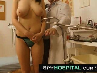 Big Natural Tits Checked Up By Elder Doctor Spy Cam