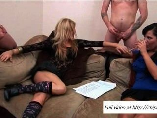Two Men Playing With Big Cocks And Women Stroking Pussies