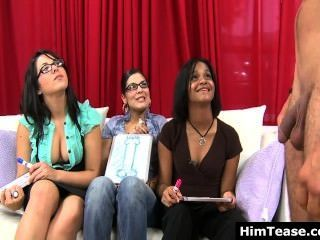 Three Fully Clothed Girls Having Fun With Shy Naked Guy And His Humble Cock