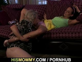 Guy Finds His Ma And Gf In Lesbian Action