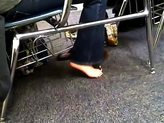 Candid Feet In Class Sexy Foot Shaking